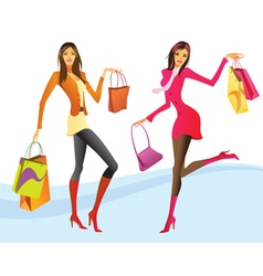 Shopping girls in action vector