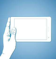 Hand holding tablet horizontal vector