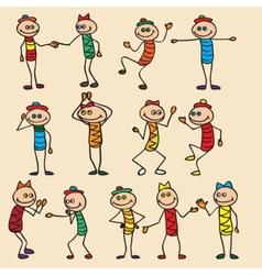 Little toy men play run jump vector