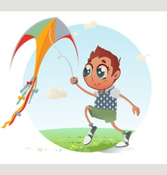 Boy flies his kite vector