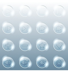 Basic set of transparent glass buttons vector