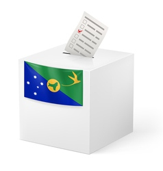 Ballot box with voting paper christmas island vector