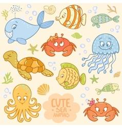 Sea set animals vector