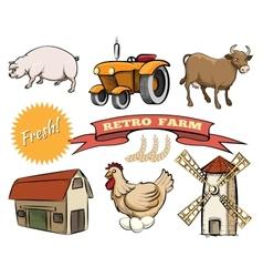 Set of retro farm icons vector
