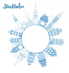 Outline stockholm skyline with blue buildings vector