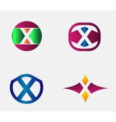 Letter x logo alphabet design element vector