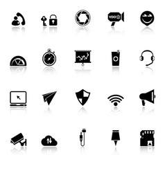 Smart phone screen icons with reflect on white vector
