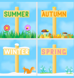 A set of signs with the names of the seasons vector