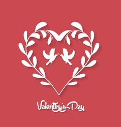 Valentines day floral heart on red background vector
