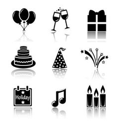 Set of black icons holidays vector