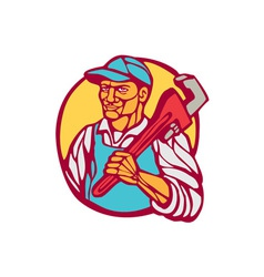 Plumber carry wrench circle woodcut linocut vector