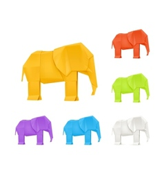 Origami elephants set vector