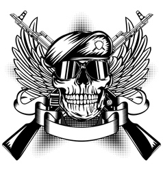 Skull in beret and two kalashnikov guns vector