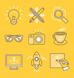 Linear icons and signs vector