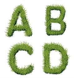 Green grass alphabet a b c d vector