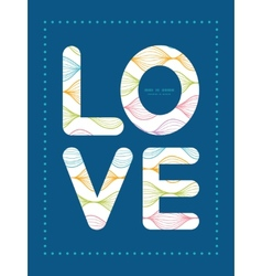 Colorful horizontal ogee love text frame vector