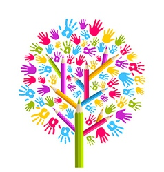 Diversity education tree hands vector
