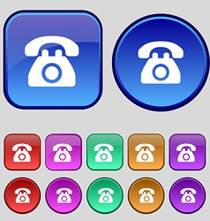 Retro telephone icon sign a set of twelve vintage vector