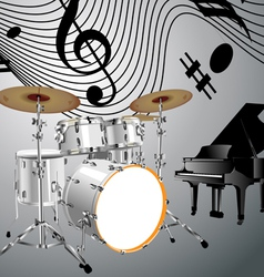 Drum set and piano vector