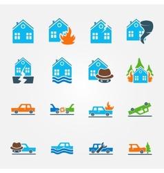 Bright flat insurance icons set vector
