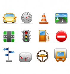 Transport and road icon set vector