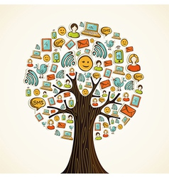 Social media icons tree vector