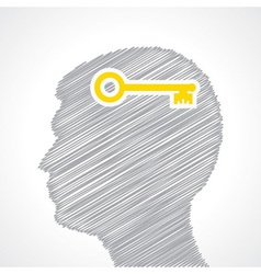 Hand drawn man s face with key in his head vector