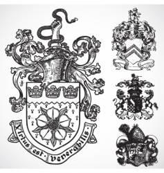 Coat of arms shield ornaments vector