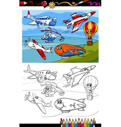 Planes and aircraft cartoon coloring book vector