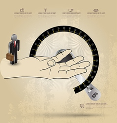Infographic diagram hand with circle scale vector
