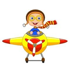Little boy cartoon operating a plane vector