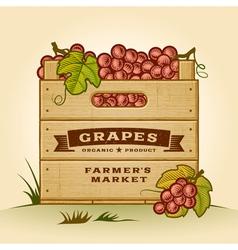Retro crate of grapes vector