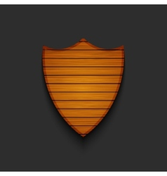Modern wooden shield on gray background vector