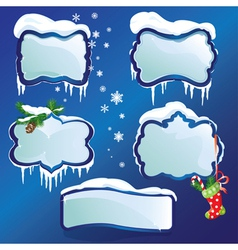 Collection of glossy winter frames with snowdrifts vector