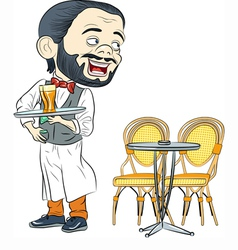 Cheerful waiter with a tray in a cafe vector