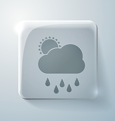 Cloud rain glass square icon with highlights vector