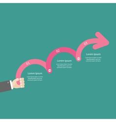 Businessman hand holding three step pink upwards vector