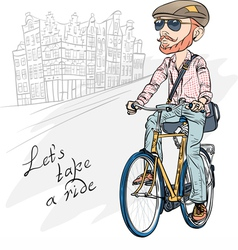 Trendy hipster bearded guy on a bike vector