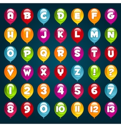 Party balloons alphabet and numbers vector