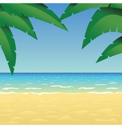 Ocean sand beach and palm vector