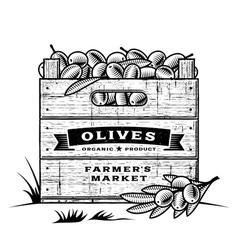 Retro crate of olives black and white vector