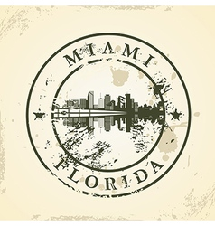 Grunge rubber stamp with miami florida vector
