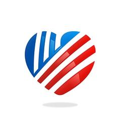 Love heart stripe logo vector