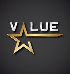 Eps10 value golden star inscription icon vector