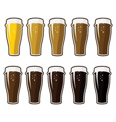 Set of glasses with different varieties of beer vector