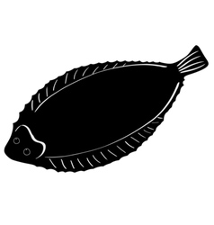 Silhouette of sole fish vector