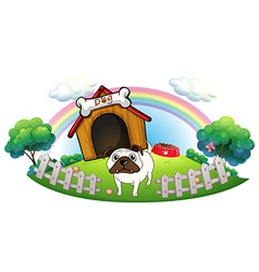 A dog with a doghouse vector