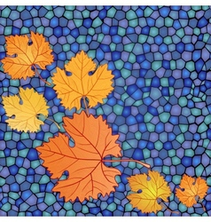 Autumn card with mosaic blue backdrop and red vector