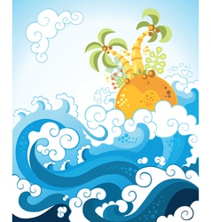 Tropical island in the ocean in decorative style vector