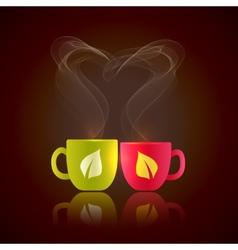 Two cups of tea vector